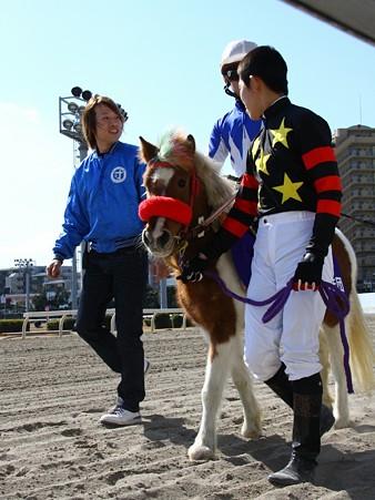 120219ポニーレースin川崎-本馬場入場-1番スケスケランラン号と佐藤博紀騎手-01
