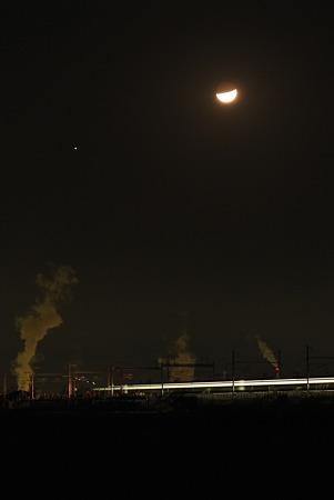 月と木星と新幹線(下り)