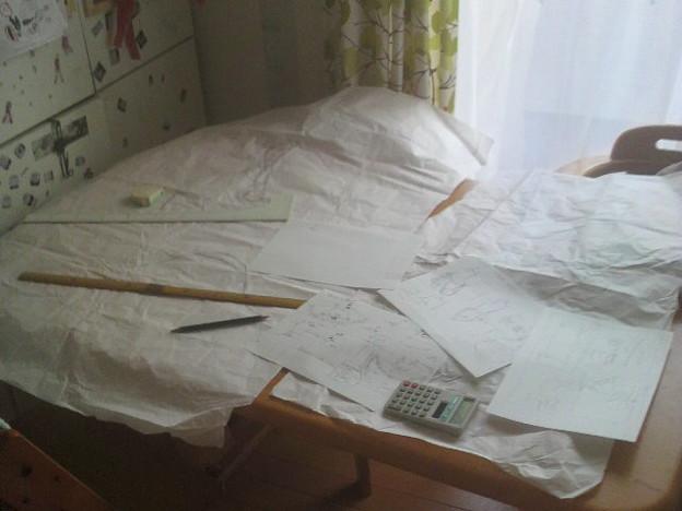 写真: 型紙描いた!疲れた!