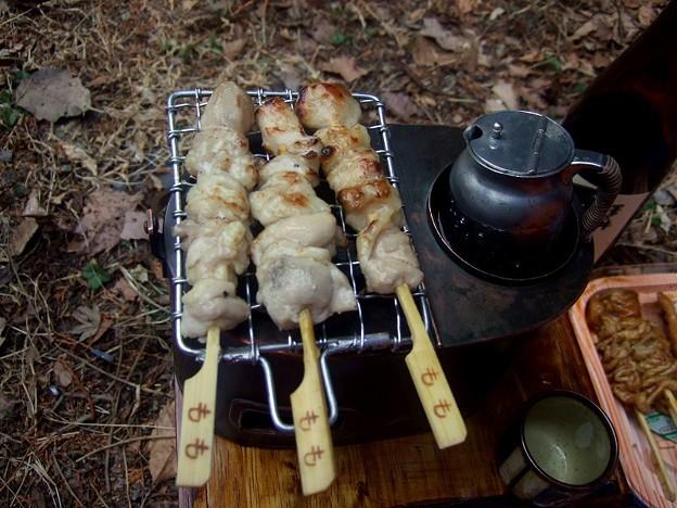 燗銅壺と焼き鳥 塩焼きです
